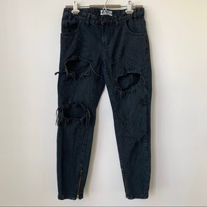 ONE TEASPOON   'FREEBIRD' DISTRESSED RIPPED BLACK WASH JEANS WITH ANKLE ZIPPERS